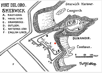 Plano del fuerte de Dún an óir ó Fuerte del Oro