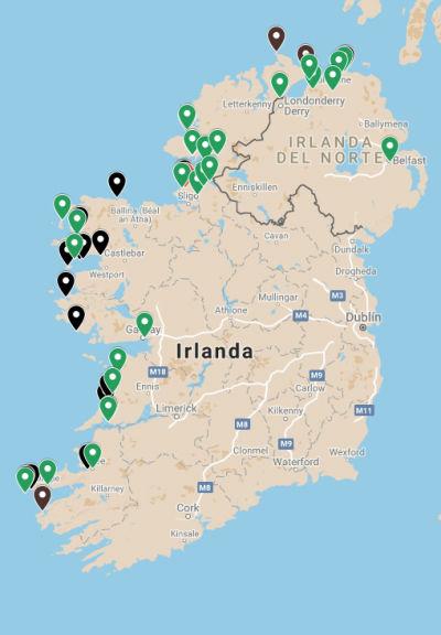 Mapa de la Armada Invencible en Irlanda