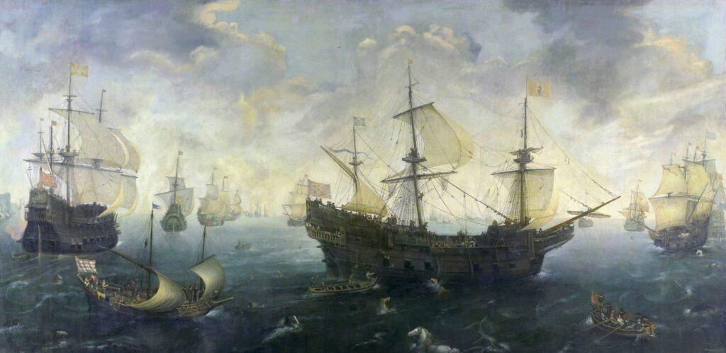 La Armada Invencible a su paso por las costas inglesas