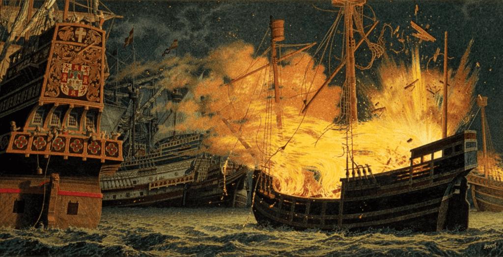 El ataque de brulotes a la Armada Invencible