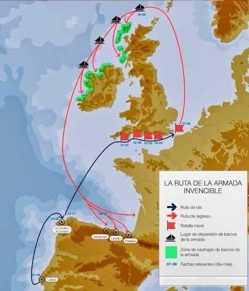 La ruta de la Armada Invencible
